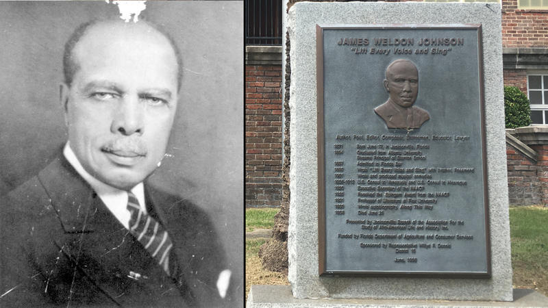 (left) Jacksonville's James Weldon Johnson. (right) A rebuilt Stanton High School on the corner of Ashley and Broad Streets is marked with a James Weldon Johnson plaque.