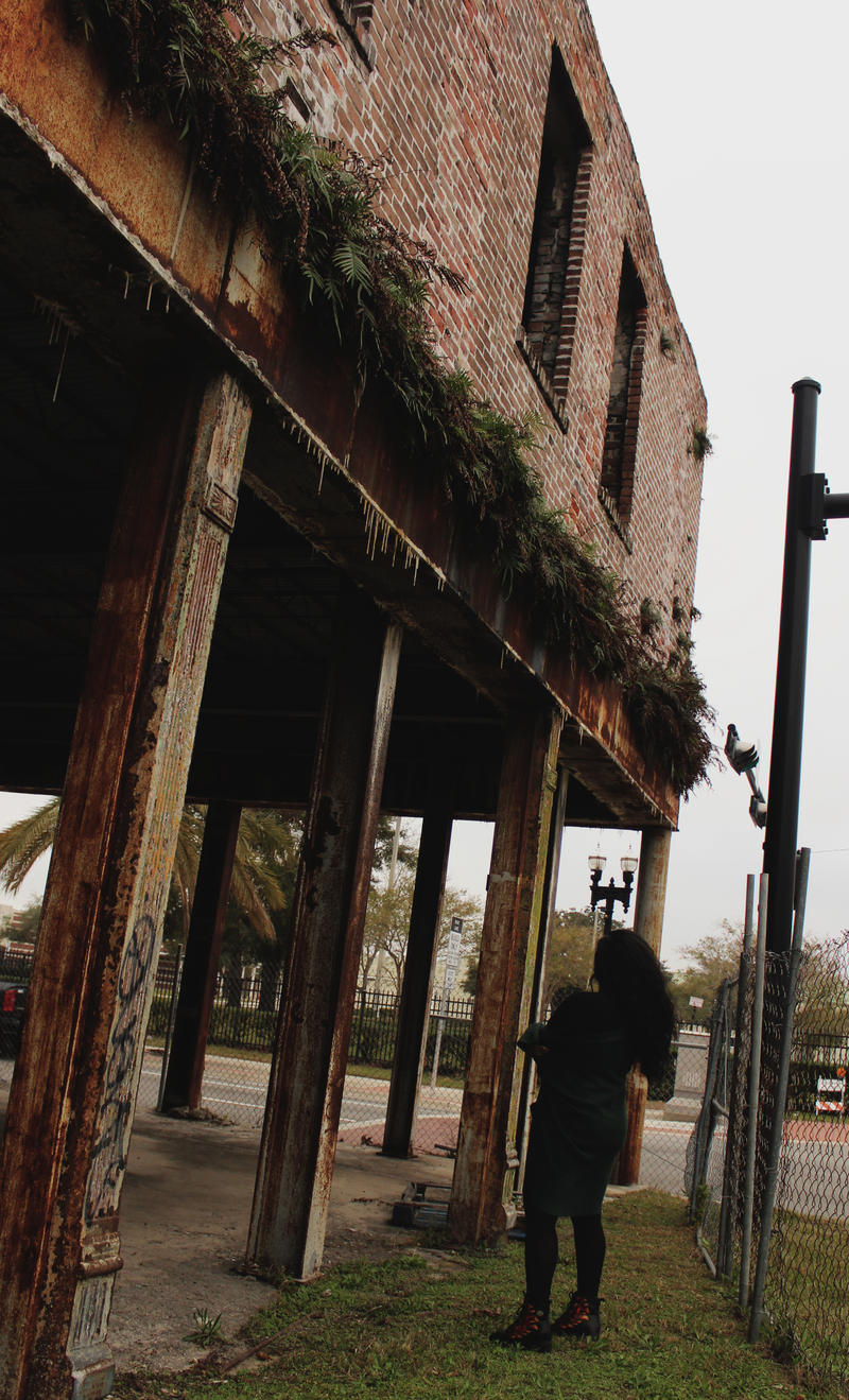 Cheech Forreign inspects the dilapidated frame of the Wynn Hotel, located in the LaVilla neighborhood of downtown Jacksonville.
