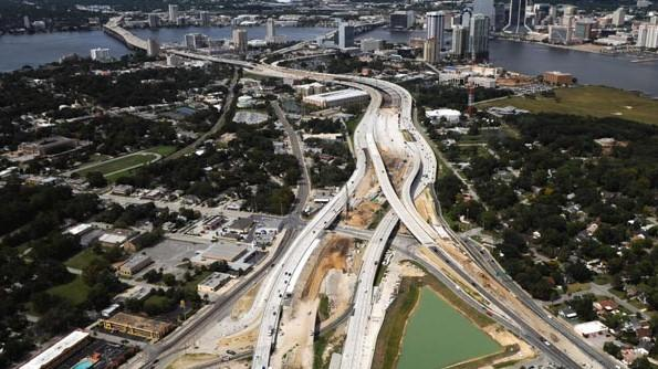 Arial view of the Overland Bridge project.