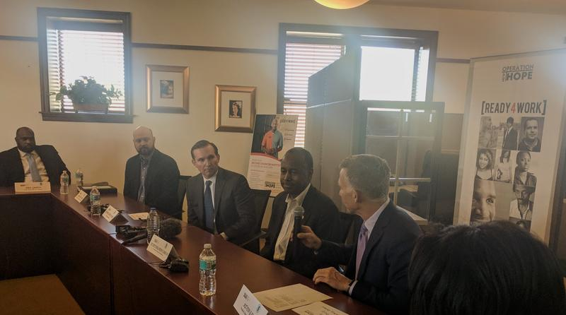 HUD Secretary Ben Carson sits down for a roundtable discussion with Jacksonville Mayor Lenny Curry (Left) and Operation New Hope's Kevin Gay (Right).