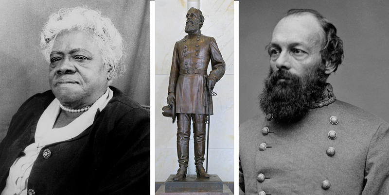 This composite photo shows from left to right: Mary McLeod Bethune, the statue of Confederate Gen. Edmund Kirby Smith in Washington, D.C. and a photo of Smith.