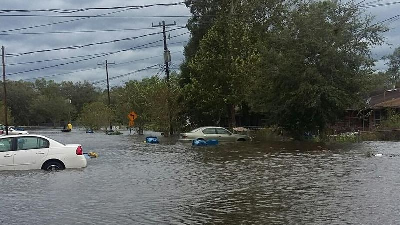 Ken Knight Drive is flooded during Hurricane Irma on Sept. 11, 2017.
