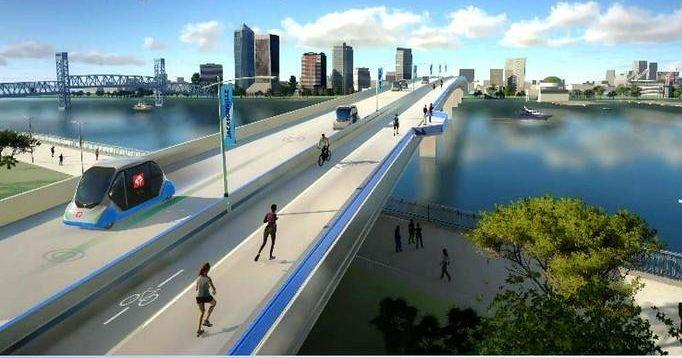 artist rendering of vehicle/pedestrian bridge