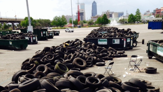 Mountains of tires were collected at 2014's buyback event.