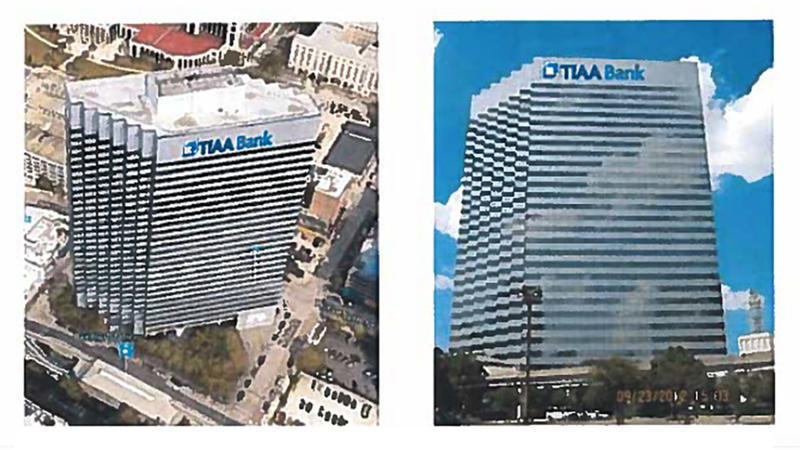 The city approved six permits for TIAA Bank signs to go up at 301 W. Bay St.