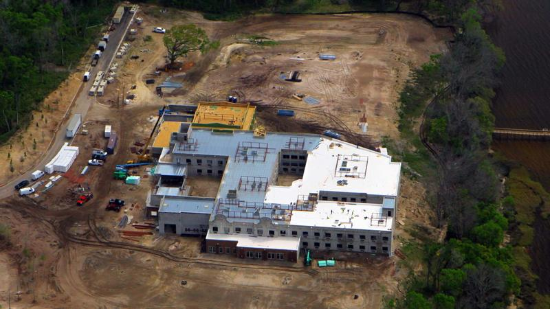 A March 23 aerial photograph of the 120-room Dolphin Pointe Health Care skilled nursing center under construction north of Jacksonville University.