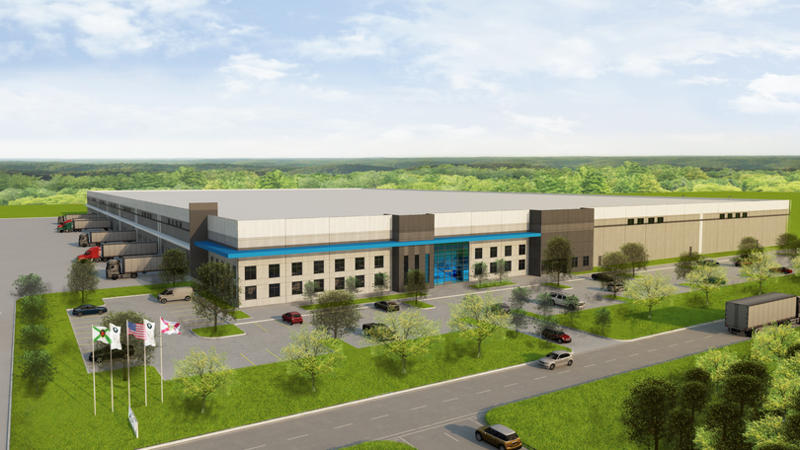 Rendering of planned Jacksonville BMW regional parts distribution center.