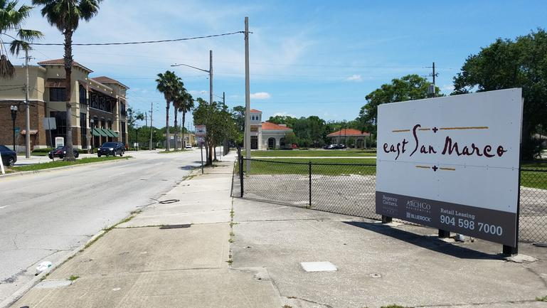 East San Marco at Atlantic and Hendricks formerly was announced in 2006 with plans for a mixed-use development anchored by Publix. The project was derailed by the Great Recession, but the property owner now says it plans to build.