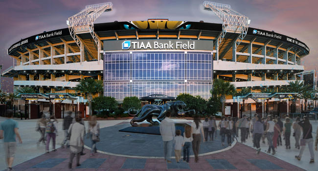 Rendering of what the Jaguars stadium will look like after the renaming to TIAA Bank Field is complete.