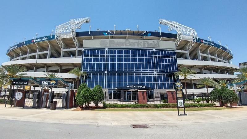 The main EverBank Field sign at the East Entrance has been removed.