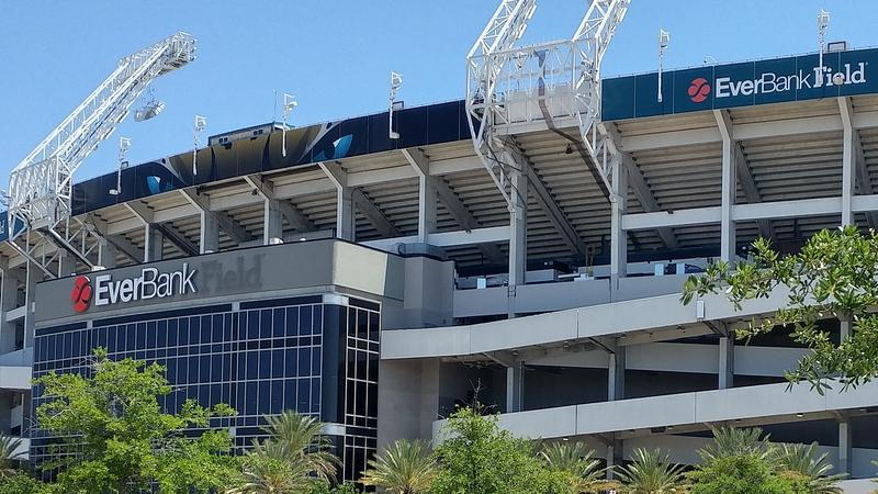 """By Monday afternoon the word """"Field"""" had been removed at the West entrance of what will become TIAA Bank Field."""