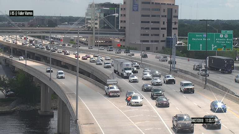 Motorists make their way across the Fuller Warren Bridge Friday.