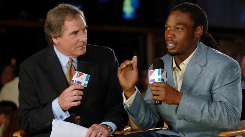"Oct. 15, 2007: WJXT TV-4 sports director Sam Kouvaris (left) and Jacksonville Jaguar Rashean Mathis host ""End Zone"" at Sneakers Sports Grille in Jacksonville Beach."