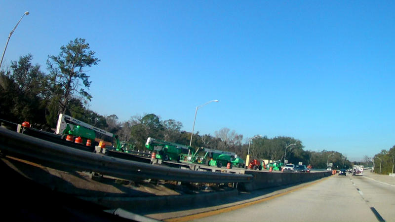 A work crew is pictured along the Hart Expressway.