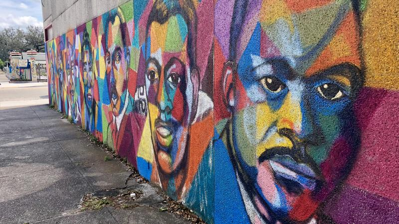 """The """"Locals and Legends"""" mural can be found on the corner of A. Philip Randolph Boulevard and Pippin Street."""