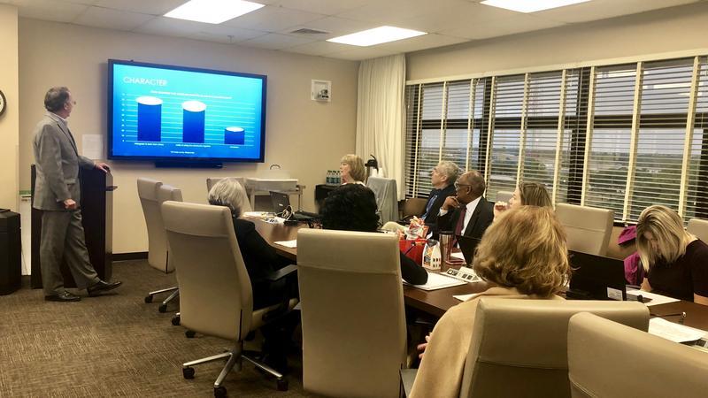 Tucker Hall's John Finotti, presents school board members with the feedback from community meetings.