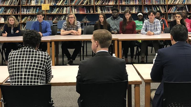 Jacksonville lawmakers listen to Duval students' concerns at Ribault High Wednesday.