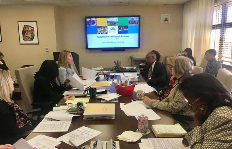 Duval School Board members work on the superintendent search process.