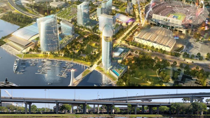 Top Image: Rendering of proposed development arond the sports complex. Bottom: Photo of ramps that would be demolished.