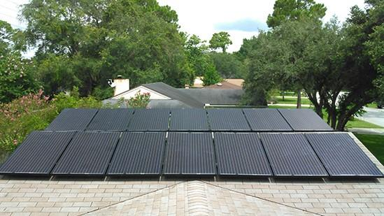 A solar rooftop installation in Neptune Beach is pictured.