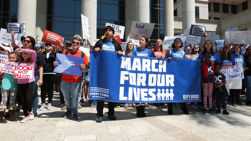 March for our lives protestors protesting outside of the Duval County Court House.