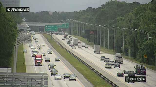 Motorists make their way along I-95 at Baymeadows Road in Jacksonville Monday morning.