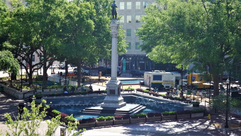 The Confederate statue in Hemming Park (pictured) will be the starting point of a Thursday march.