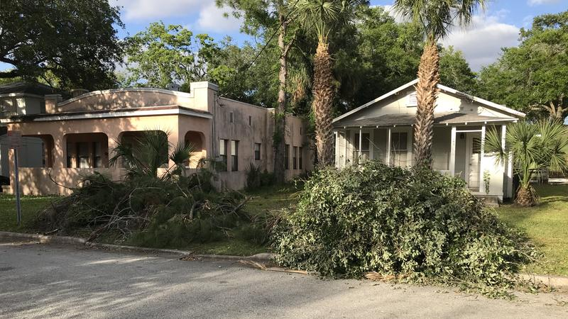 Branches are laid out for pickup in Jacksonville's San Marco neighborhood.