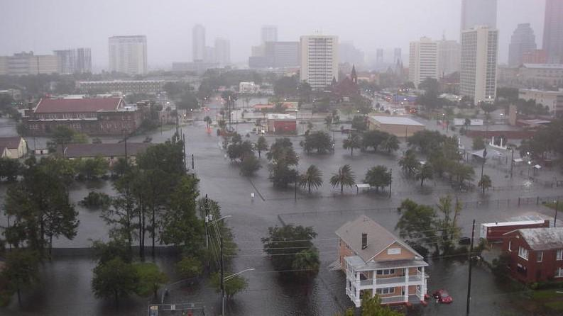 The view of from the 13th floor of Centennial Tower apartments, located at the corner of Market and First Street just north of downtown Jacksonville during Hurricane Irma.