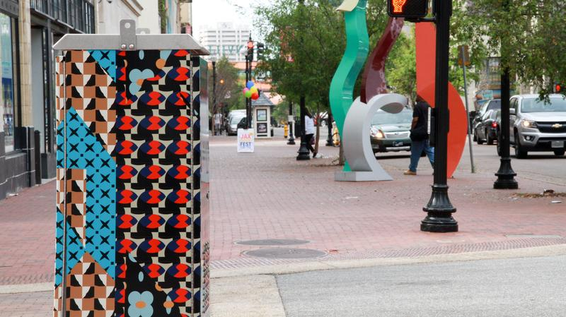 A signal box was decorated Michelle Weinberg of Miami next to Hemming Park in Phase 1 of Art in Public Places.