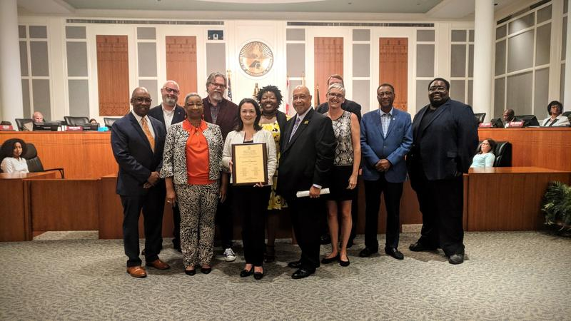 "City Council President Anna Lopez Brosche awarded task force members with the city's Melody Starr Bishop Community Service Award which honors the city's ""unsung heroes."""