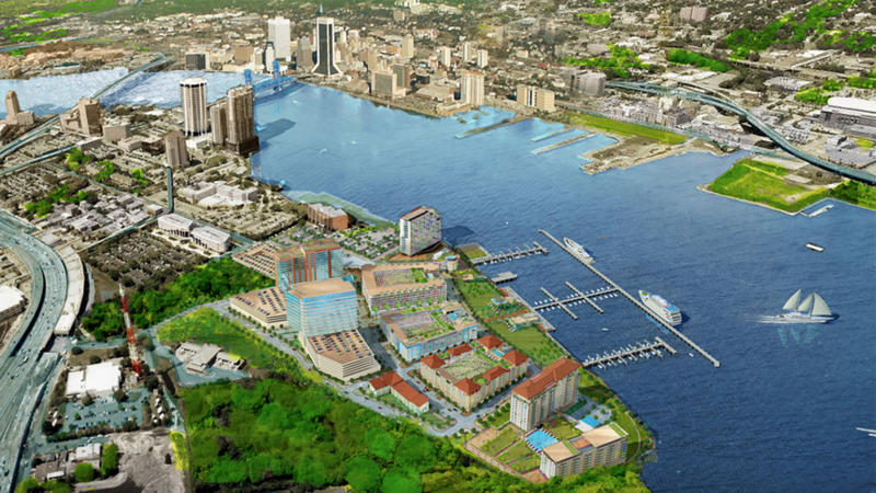 This rendering shows a view of The District, which is a proposed development for Jacksonville's Southbank