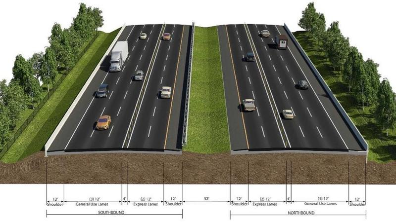 This rendering shows what the express lanes proposed for I-95 between I-295 and International Golf Parkway would look like.