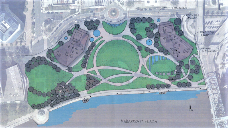 This rendering from Jacksonville's Parks and Recreation Department illustrates a vision for the land where The Jacksonville Landing stands today.