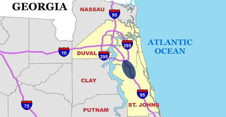 This map shows the area where express lanes would be built between I-295 and International Golf Parkway.