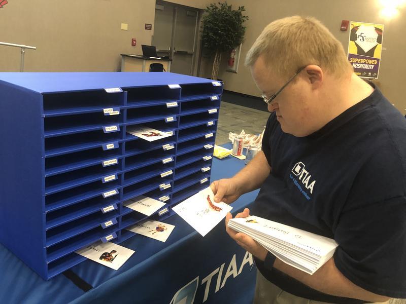 TIAA Bank employee Jason Hamilton came to Friday's Job-a-Palooza event to show off his job.