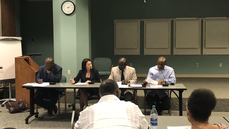 Council members Reggie Gaffney, Anna Lopez Brosche, Sam Newby and Garrett Dennis on Monday discuss how to handle bills that were sponsored by Katrina Brown or Reggie Brown.