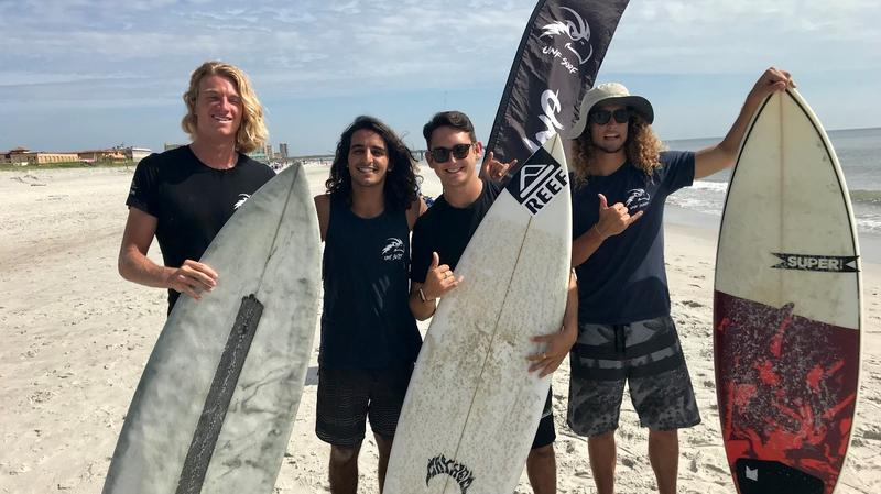 4 UNF Surf Team Members who will attend this weekends competition in California. Left to right: Merrick Cunningham, Ryan Alkhatab, Harry Chodorow, and RJ Berger