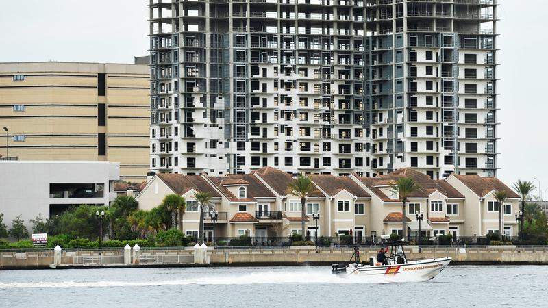 Waterfront townhomes line the St. Johns River at Berkman Plaza in downtown Jacksonville.