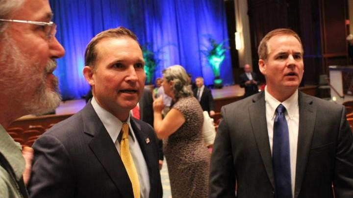 Jacksonville Mayor Lenny Curry (center) will deliver his budget address Monday.