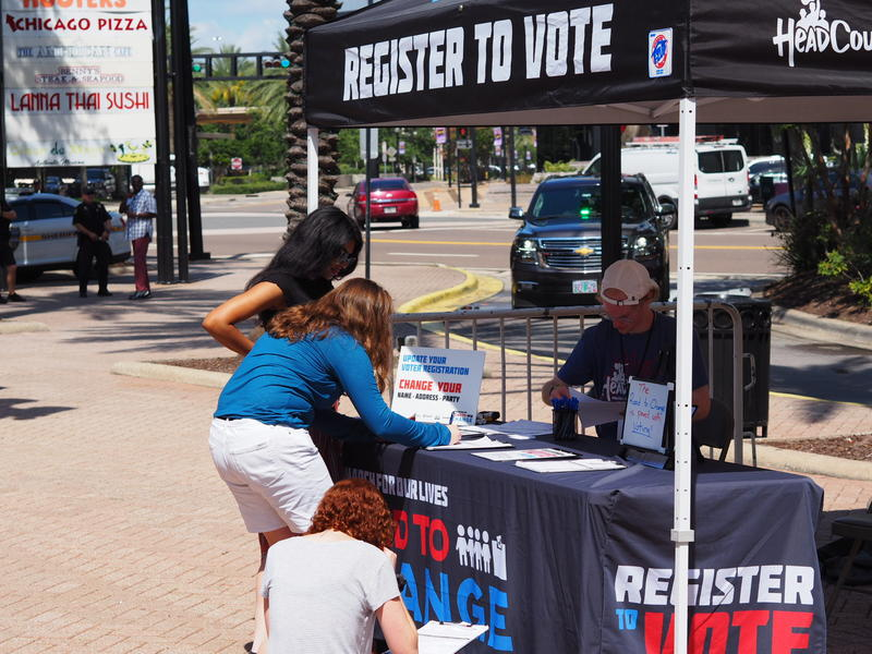 People were encouraged to register to vote at Friday's March For Our Lives event at The