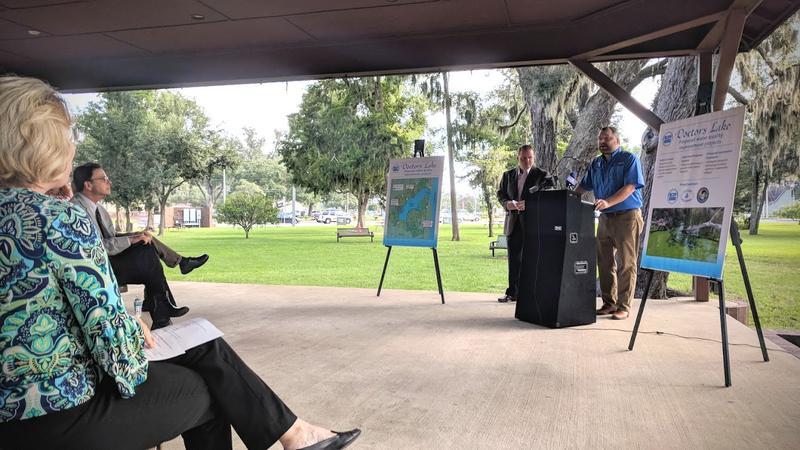 Sen. Rob Bradley (R-Fleming Island) and Rep. Travis Cummings (R-Orange Park) speaking in Clay County Wednesday.