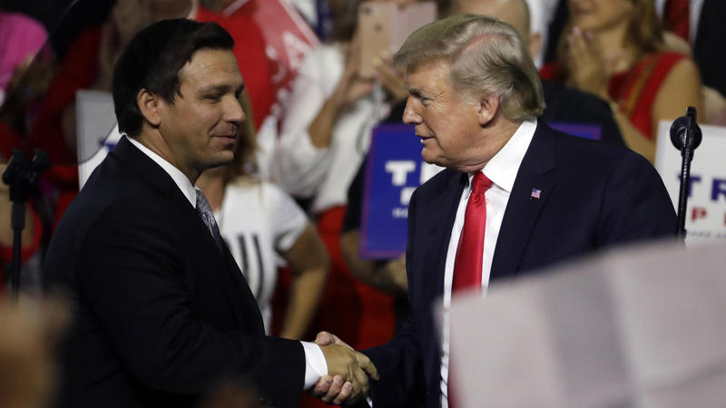 Ron DeSantis (left) has received strong support from President Donald Trump in the Florida Governor's race.