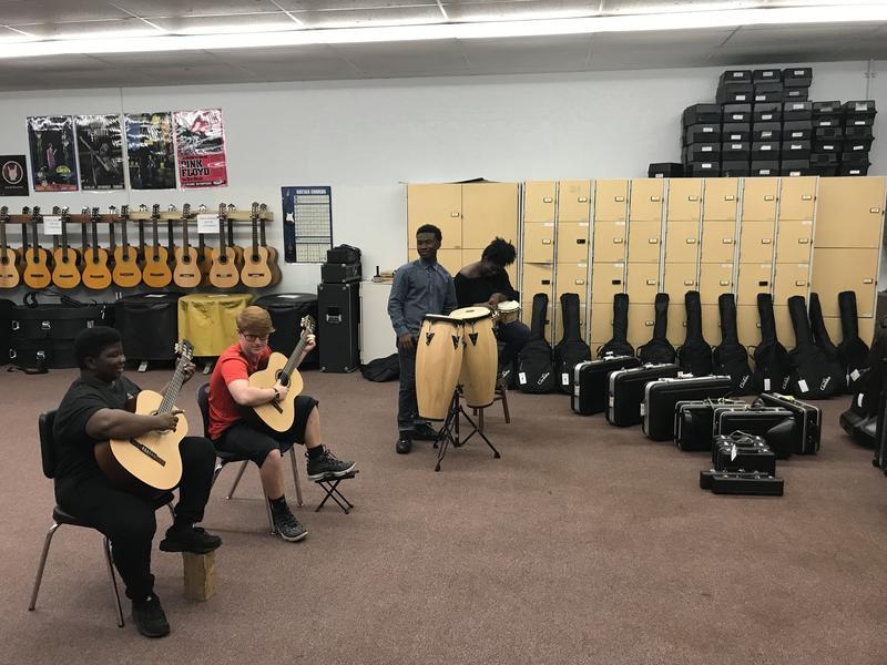 Pictured left to right: William Eagle (10th grade), Ryan Brown (10th grade), Vasco Eagle (12th grade), & Kiyah Wilcher (12th grade)