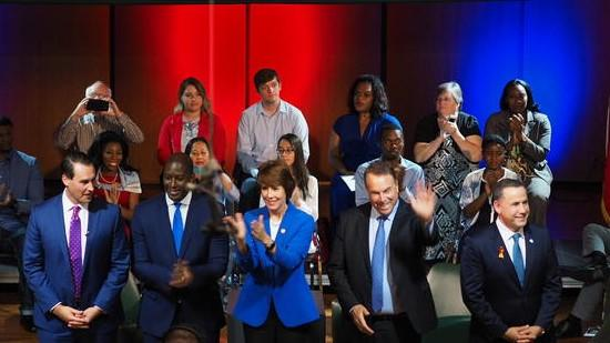 Democratic  gubernatorial candidates (from left) Chris King, Andrew Gillum, Gwen Graham, Jeff Greene, and Philip Levine wrap up their town hall at Jacksonville University Thursday.