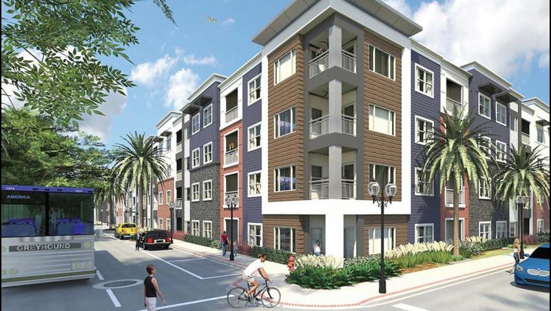 This rendering shows a proposed San Marco apartment complex.