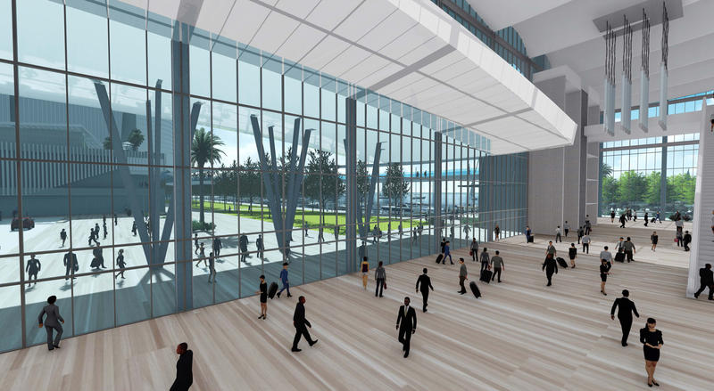 Renderings of a proposed convention center and hotel across from the sports complex were released Thursday.