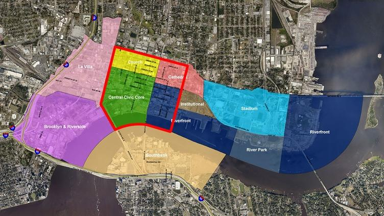 This map shows the downtown core in red within the larger downtown area.