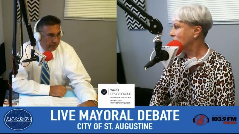 Incumbent St. Augustine Mayor Nancy Shaver (right) debated one of her two challengers, former County Commissioner Bill McClure Friday morning on radio station WSOS.