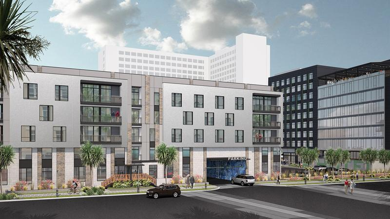 An architectural rendering shows apartments on the site of the old county courthouse and City Hall annex.
